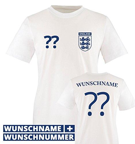 TRIKOT – ENG – WUNSCHDRUCK – Kinder T-Shirt – Weiss / Blau Gr. 152-164