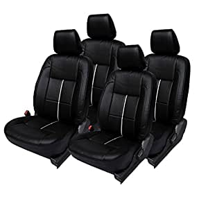 Hi Art Black and Silver Leatherite Custom Fit Car Seat Covers for Renault Duster - Complete Set