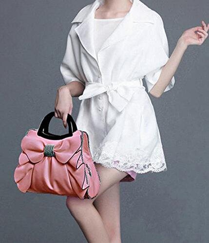 QPALZM QPALZM 2017 Neue Frau Bogen Handtasche Süße Damen Tasche Mode Schultertasche Dame Messenger Bag Pink