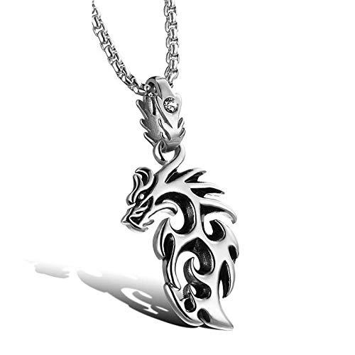 FATRWO Herrenanhänger, Persönlichkeitstrend, Hohle goldene Flammen-Drachen-Halskette, aus Edelstahl, mit Zirkon eingelegt, ist die Beste Geschenkauswahl und die perfekte Geschenkbox,Silver