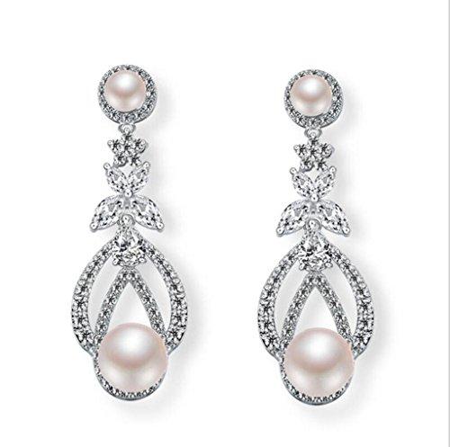 Kitzen orecchini da donna in argento con fiori pendenti e orecchini pendenti con perle bianche avorio orecchini con pietre zirconi naturali per pacchetto regalo per la festa nuziale