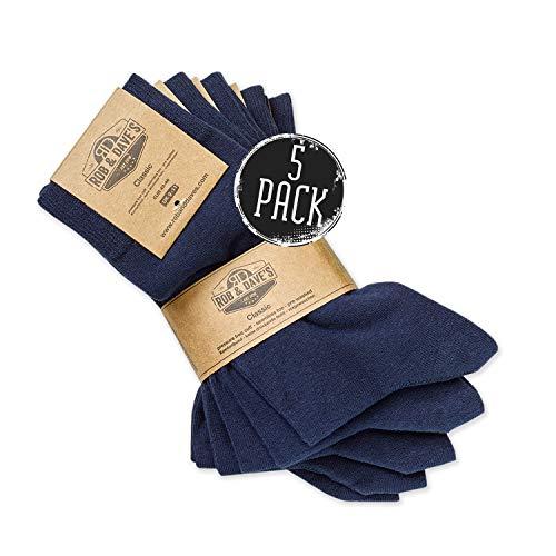 Rob & Dave's Classic Socken - 5 oder 10 Paar - gekämmte Baumwolle - OEKO-TEX Qualität - nahtlos - unisex in schwarz & blau - ohne drückende Naht