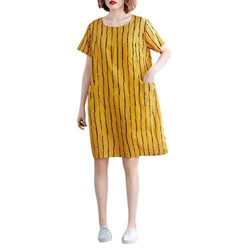 LILIHOT Frauen Vintage Kleid Print Kurzarm Sommerkleid Damen O-Neck Strandkleid Casual Mid-Calf Kleider Mode Swingkleid Elegant Partykleid Rockabilly Knie-Kleid Retro Spitzenkleid
