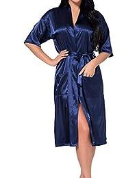 Kimono Señoras Seda Satén Boda Novia Larga Dama Vintage De Honor Bata Kimono Bata ...
