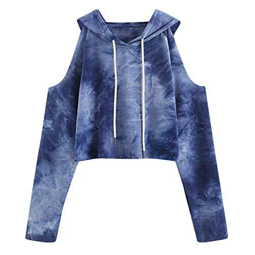Damen Farbverlauf Hoodie Langarm Kurz Sweatshirt Langarmshirt Oberteile Hoodie Tie Dye Crop Tops MYMYG Frauen Pulli Crop Tops(H1-Blau,EU:36/CN-M) (Blau Und Weiß Tie-dye Hoodie)