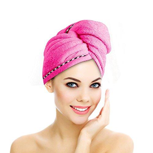 Jack & Rose Haar Turban Haartrockentuch Handtuch Kopftuch Duschhauben Haarpunzel Zuknöpfen saugfähigen Tuch Leichte Mikrofaser weiche Faser 60 * 25 cm Pink