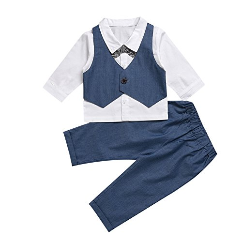 CHIC-CHIC Kids Toddler Baby Boys Gentleman Tuxedo Suit Clothing Sets Bow Tie Shirt +Long Pants Outfits (6-12 Months, Blue)