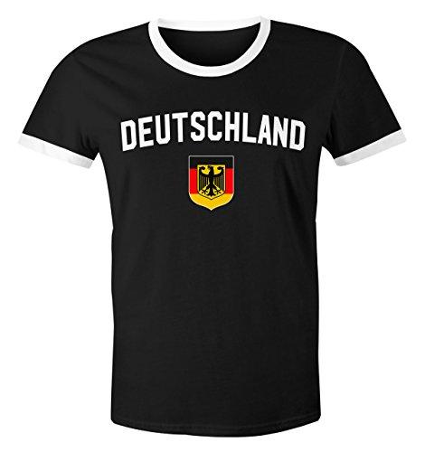 bc94b8a8f02d MoonWorks Klassisches Herren WM-Shirt Deutschland Flagge Retro Trikot-Look  Fan-Shirt Schwarz-Weiß L