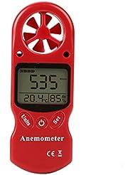 FOSHIO Anémomètre numérique à fonctions multiples Compteur de vitesse du vent Calibre Mesure de la vitesse du débit d'air avec Thermomètre et mesure de l'humidité Fonction pour la planche à voile Kite Voile Voile Surf Pêche