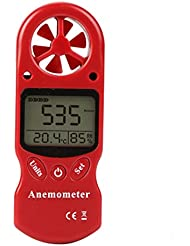 FOSHIO Multi-function Digital Anemometer Wind Speed Meter Gauge Air Flow Velocity Measurement with Thermometer and Humidity Measure Function for Windsurfing Kite Flying Sailing Surfing Fishing