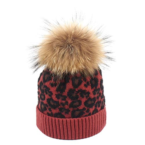 BESTOYARD Kinder Herbst Winter Hut Multicolor Leopard Stricken Wolle Ball Cap Jungen...