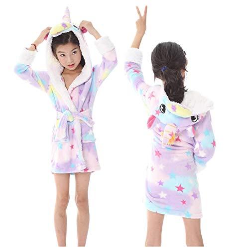 Dreampartydress Ecommerce Trade Ltd Mädchen Sterne Einhorn Bademantel Morgenmantel 3D Horn Magische Lila Rosa Gelb PJ's Pyjamas (Alter 6-8)