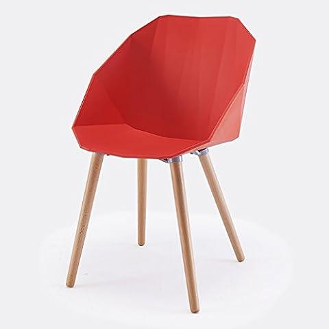 Chair Chair Handrail Chair Chair Creative Casual Backrest Chair Designer Plastic Simple Coffee European Chair ( Color : Red )