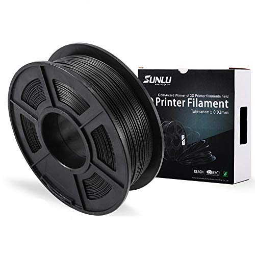 SUNLU PLA Carbon Fiber 3D Printer Filament, PLA Carbon Fiber Filament 1.75 mm, 3D Printing filament Low Odor Dimensional Accuracy +/- 0.02 mm, 2.2 LBS (1KG) -