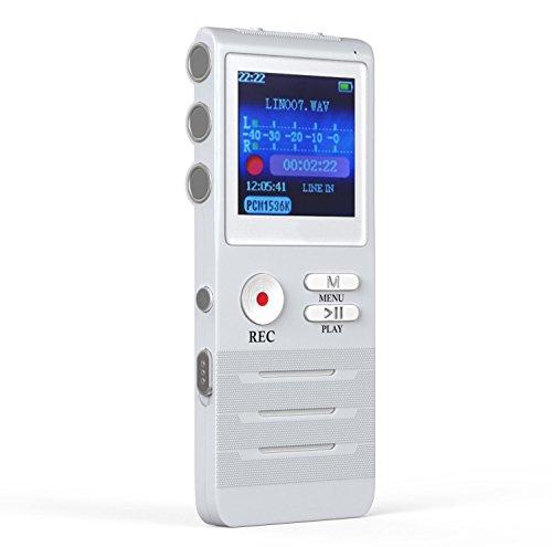 GHB 8GB Registratore Vocale Digitale con Doppio Microfono Supporta MP3 USB- Argento