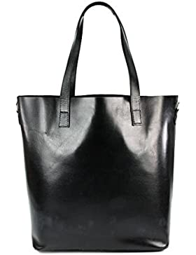 BELLI ital. Designer Leder Handtasche Shopper - schwarz | braun | rot | cognac - Farbauswahl - 32x36x15 cm (B...