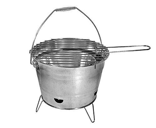 BBQ Grill-Eimer Holzkohlegrill Metall Tischgill Zinkeimer Ø 27cm
