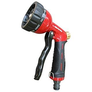 Heavy Duty 10 Pattern Metal Garden Watering Nozzle - High Pressure Spray Gun - Pistol Grip Sprayer With Flow Control.