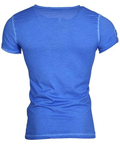 Tazzio Herren T-Shirt Poloshirt Polo Hemd Slim Fit Japan Style Kurzarm Dunkelblau
