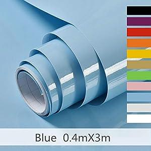 Hode Selbstklebende Klebefolie Undurchsichtige Folie Möbelfolie für Küche Wände Schrank Wasserdicht Vinyl, Blau 40cmX300cm Mit Glitzer