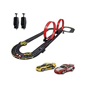 Electric Slot Car Race Set with Speed Track Loops and 2 Cars 1:43 Scale by Artin