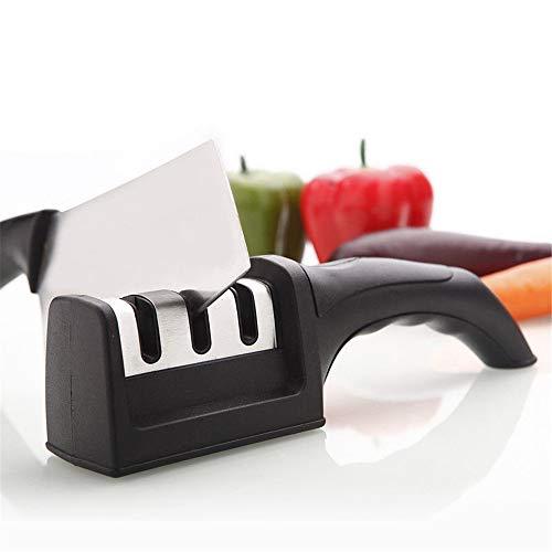 Affilacoltelli da cucina - l'utensile per affilare i coltelli a 3 fasi aiuta a riparare, ripristinare e lucidare le lame, nero