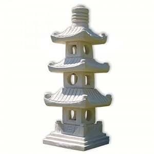 Lanterna pagoda giapponese, arenaria, bianco, 3 livelli, decorazione importata di thaïlande (10511)