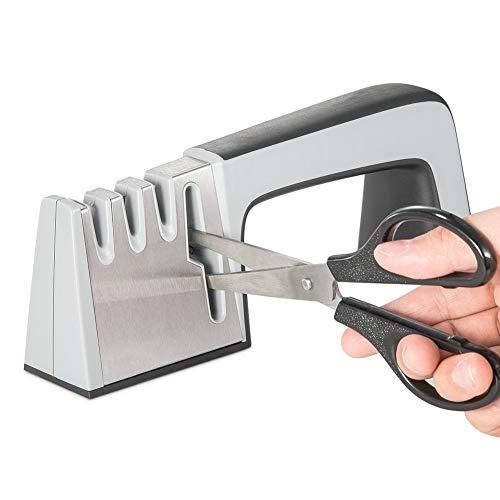 kitchenqueen Messerschärfer scharfe Küchenmesser mit Easy Grip Griff für Schärfen gerader Edge und gezackte Messer silber Edge Scissors Sharpener
