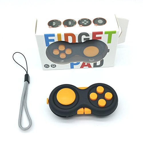 Spindee Fidget Pad 2.0 Upgraded Fidget Cube Toy Dice Hand Shank Relieves Stress. 9 Sides For Anti-Anxiety ADHD, Increasing Focus, Concentration, Quitting Bad Habits, Skin Picking, Nail Biting, Travel Pocket Gamepad Controller (Orange)