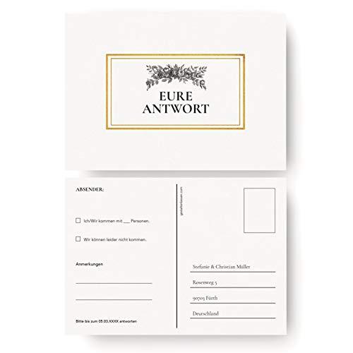 (20 x) Antwortkarte Hochzeit Hochzeitskarten Antwort Postkarte Karte Einladung - Gold