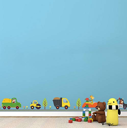 Cartoon niedlichen tiere auto wandaufkleber kinder jungen nursey schlafzimmer taille linie diy wandtattoos dekor wandbild kinder geschenk 3d (Kleber Punkt-linien)