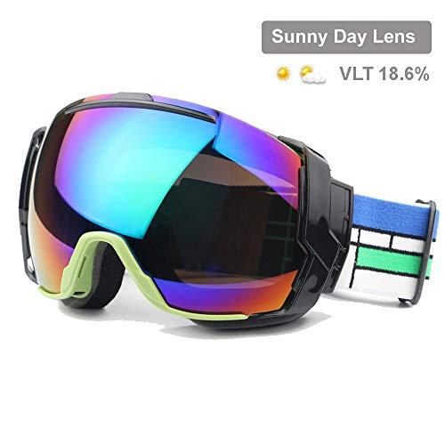 Wfkjj Skibrille UV400 Anti-Fog mit sonniger Tageslinse und Option für bewölkte Tageslinsen, Snowboard-Sonnenbrille über Rx-Brille tragen, Farbe