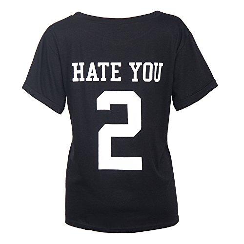 Ularma Damen T-Shirt Baumwolle Kurzarm Sweatshirt mit Buchstaben Auf der Rückseite (42, schwarz)