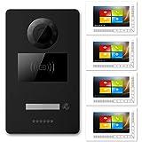 """GVS Interphone vidéo 1 maison familiale RFID 4 x 7"""" écran tactile tactile de porte de stockage photo/vidéo encastré de porte 1,3 MP caméra réglable Noir mat"""