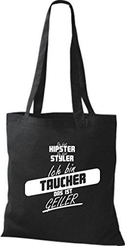 Shirtstown Stoffbeutel du bist hipster du bist styler ich bin Taucher das ist geiler schwarz
