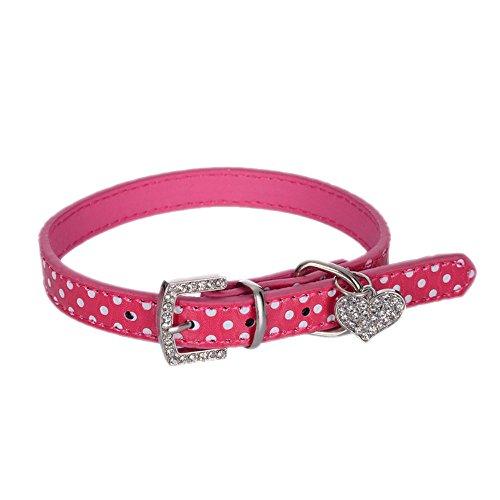 Hundehalsband Halsbänder aus Bling PU Leder,mit Strass Liebe und Diamante Stein Pet Puppy Hundehalsband Umhängeband Bullet Ring Spikes Hund Halsband für kleine Hunde wie Chihuahua Spitz (Pink) -