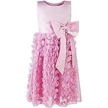 Katara – vestido de dama de honor para niña/sin mangas/Con Falda De Plumas Y cinturón nudo – Vestido de fiesta/boda/bautizo o fiesta para niños – colores y ...