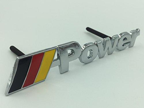 Power Logo Auto Grill Badge Dekoration Legierung Metall Power Badge Emblem passend für die meisten machen und Modelle 3D Silber Chrom///Power Auto Styling, gelb Deutsche Flagge