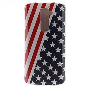 LG G2 Custodia,Cozy Hut Stilosa custodia di design in morbido TPU per LG G2 Cover Morbido TPU Case Trasparente disegnare modello Ultra Sottile Anti Slip Case Copertura Protezione Antiurto per LG G2 - American Flag