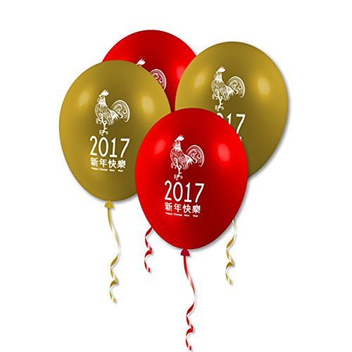 10 Chinese New Year Rooster 2017 Red Gold Party Assorted Printed Latex Balloons