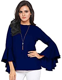 251dca9ca75ccd Serein Women s Top (Royal Blue Crepe Moss top with Flute Sleeves)