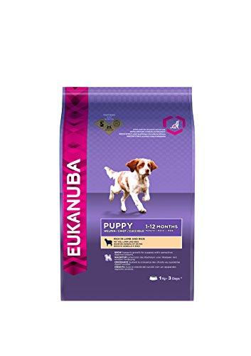 Eukanuba Premium Hundefutter mit Lamm & Reis, Trockenfutter für sensible Welpen, 4er Pack (4 x 1 kg)