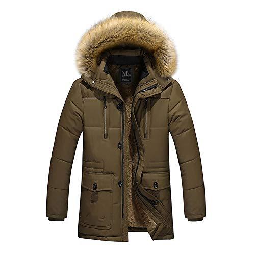Giacca in cotone da uomo, nuovo caldo cappotto di pelliccia invernale con collo alto di lana verde militare parka big yards (colore : army green, dimensione : l)