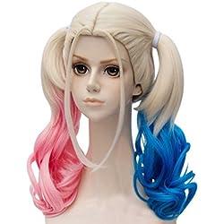 Falamka T3003 andp película Suicide Squad Harley Quinn Cosplay peluca para niña mujeres ramo rosa azul largo rizado cosplay peluca (1)