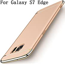 Galaxy S7 edge Case,Heyqie 3 in 1 Ultra-thin 360 Full Body Anti-Scratch Shockproof Hard PC Non-Slip Skin Smooth Back Cover Case with Electroplate Bumper for Samsung Galaxy S7 Edge G9350 - Gold