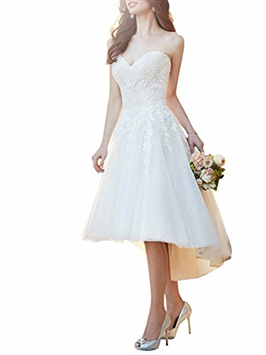 Cloverbridal Damen Spitzen Hi-Lo Hochzeitskleid Standesamt Brautkleider Kurze (Low High Brautkleid Weißes)