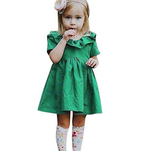 Baby Mädchen Kleidung Set JYJM Casual Mädchen Sommer Mode Mädchen Rock Bluse Kinderkragen Kurzarm-Kleid Prinzessin Kleid Top Shirt Prinzessin Kleid Anzug Tanz RockOutfits (Größe: 5 Jahre, Grün)