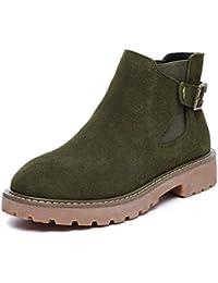 SHOWHOW Damen Retro Stiefelette Blockabsatz Kurzschaft Stiefel Mit Reißverschluss Grün 37 EU