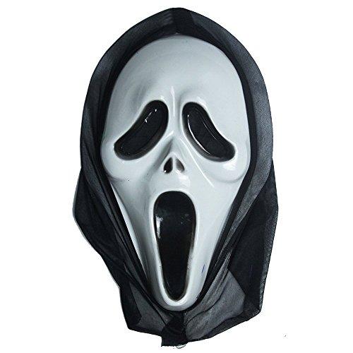 te Maske für Kostüm - Verkleidung - Karneval - Halloween - Monster - Assassine - Weiße Farbe - Erwachsene - Unisex - Frau - Mann - Jungen - Scream ()