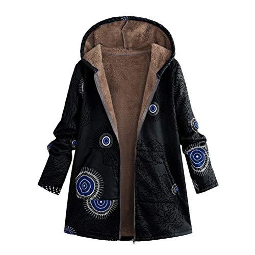 Bluelucon Damen Mantel, Kapuzenjacke Winter Warmer Lange Strickjacke Winterjacke Frauen mit Kapuze Langarm Vintage Fleece Dicke Reißverschluss Wollmantel